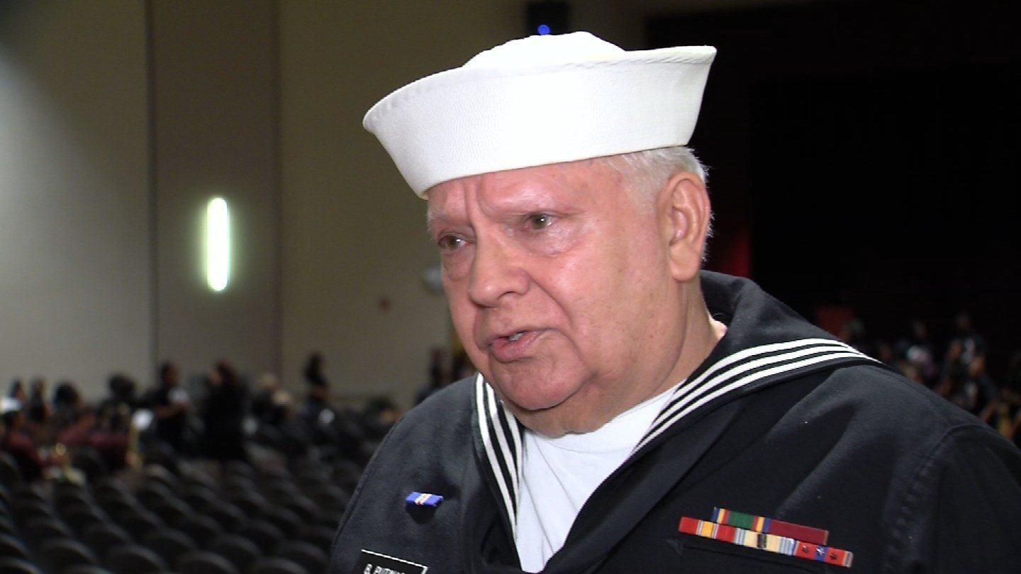 Navy veteran Bruce Punitas received his high school diploma after nearly six decades. (WFSB)