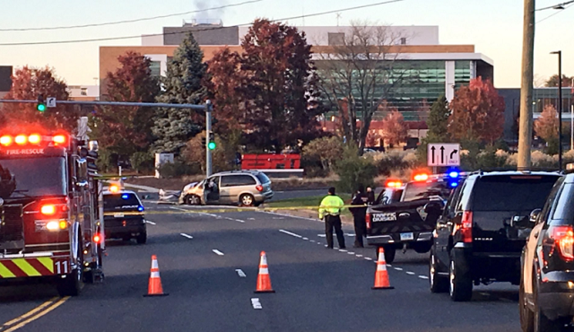 Crews are on scene of a crash on West Street in Southington. (WFSB)