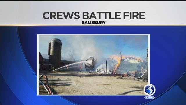 Multiple crews battle heavy fire at a barn in Salisbury (Norfolk Fire Department)