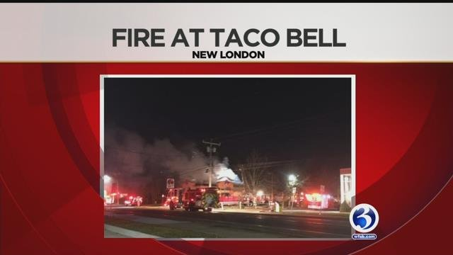 Taco Bell in New London was closed on Saturday night after a fire earlier in the day. (WFSB)