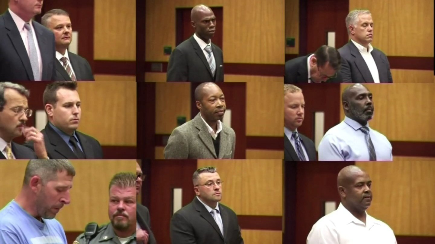 Nine of the 10 people arrested for suspected abuse at the Connecticut Valley Hospital during previous court appearances. (WFSB)