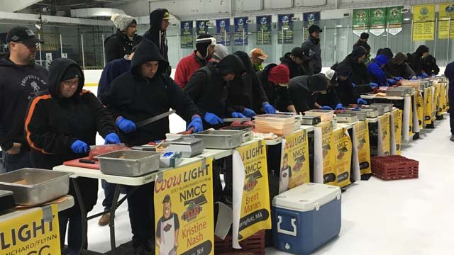 Eighteen professional meat cutters faced off in a meat-cutting qualifying competition in Norwich on Tuesday. (WFSB)