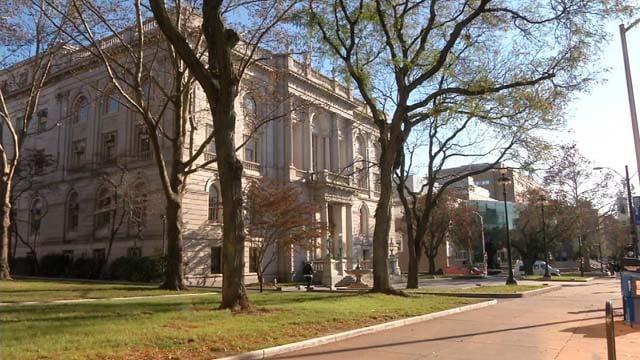 Holiday decorations will still be placed inside Hartford City Hall despite budget cuts (WFSB)