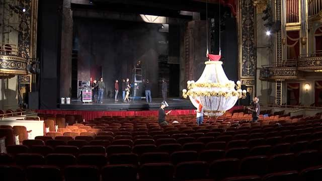 Crews are working to set up for the Phantom of the Opera performance in Waterbury (WFSB)
