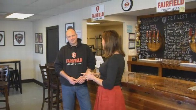 Courtney checks out brews at Fairfield Craft Ales