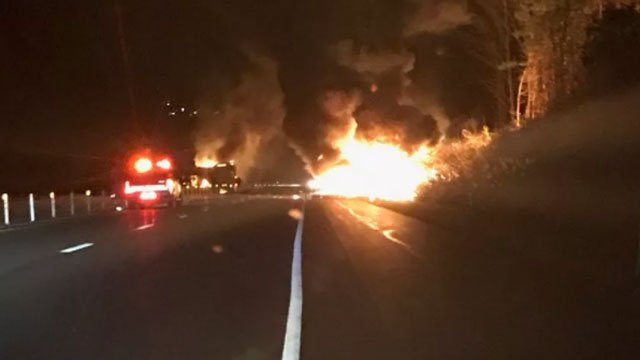 Police are investigating a crash involving two tractor trailers on I-84 in Southbury.  (CT State Police)