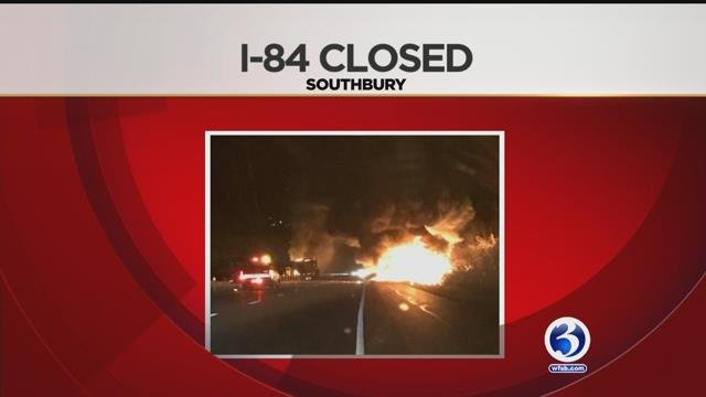 VIDEO: Fiery crash involving two tractor trailers snarls traffic on I-84