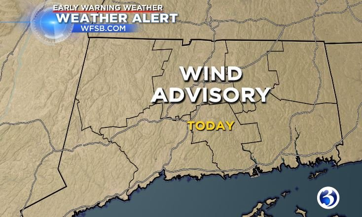 A wind advisory was in effect for the whole state. (WFSB)