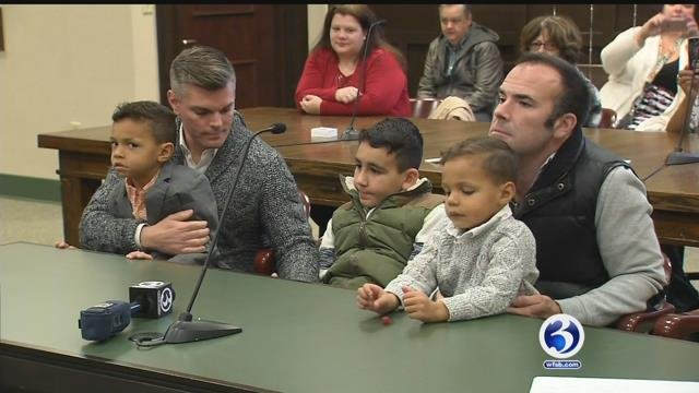 Kevin and James McLaughlin welcomed two new members to their family on Friday. (WFSB)