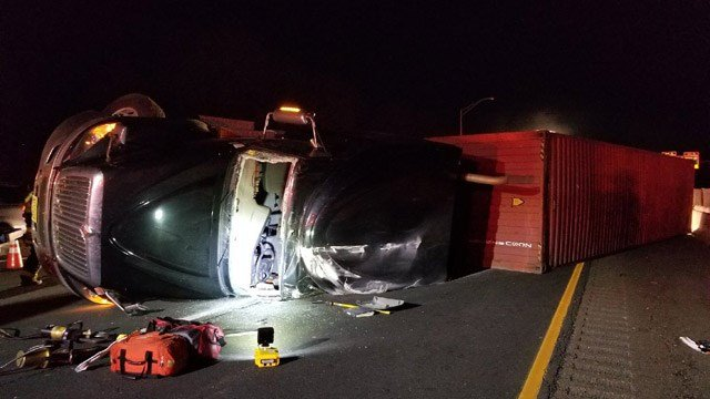 A tractor trailer rollover snarled the morning commute along I-84 west in Danbury. (Danbury Fire Dept.)