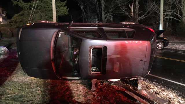 Two people received minor injuries after a rollover on Andrews Road in East Hampton. (East Hampton Fire Dept.)