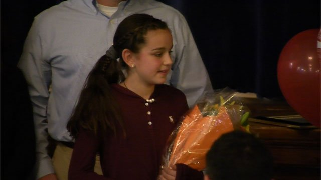 Megan Kasperowski, who is a fifth grader at the Brownstone Intermediate School, named newest kid governor. (WFSB)