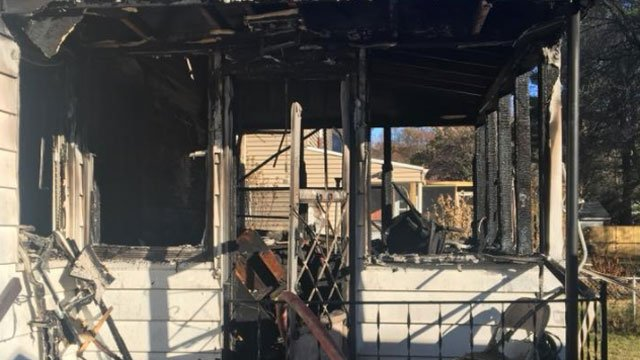 A porch on Bristol Street was damaged by a fire on Thanksgiving. (City of Hartford Fire Department)