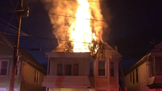 A firefighter was injured while battling a fire at a home in Hamden on Thursday night. (Hamden Fire Department)
