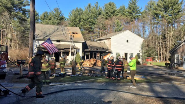 A first-alarm fire was reported on Quaddick Town Farm Road. (WFSB)