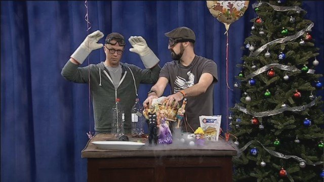 Mark and TJ have some holiday fun with liquid nitrogen
