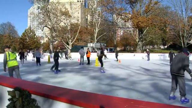 Ice skaters enjoy free skating in Bushnell Park on Friday. (WFSB)