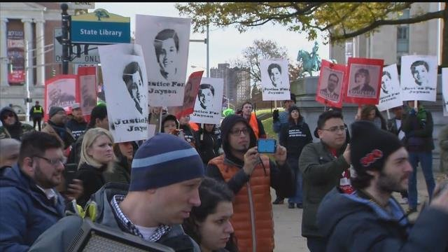 A 'Justin for Jayson' rally was held in Hartford following the Bridgeport police shooting death of Jayson Negron last spring. (WFSB)