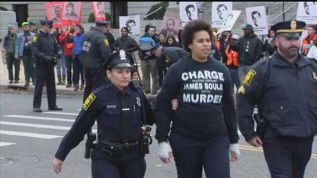 Several people were arrested during a 'Justice for Jason' rally in Hartford on Monday. (WFSB)