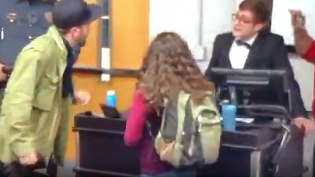 Conservative speaker Lucian Wintrich was arrested on Tuesday after he lunged at a woman who appeared to have taken his notes. (WFSB)