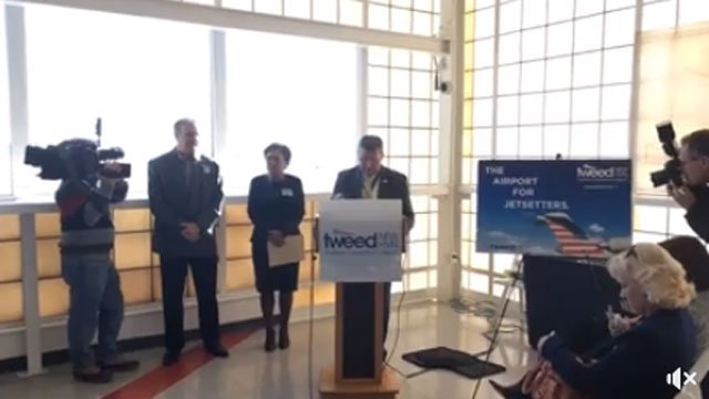 Tweed New Haven Airport announcing the arrival of jet service to and from Philadelphia. (WFSB)