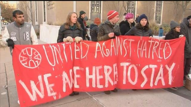 A rally in support of Nelson Pinos took place in Hartford on Thursday morning. (WFSB)