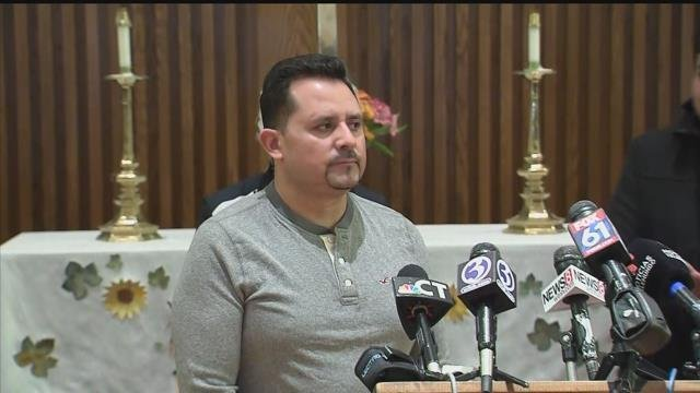 Nelson Pinos found sanctuary from deportation at a New Haven church on Thursday. (WFSB)