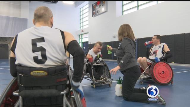 Quad Wheelchair rugby athletes take a quick break during their tournament. (WFSB)