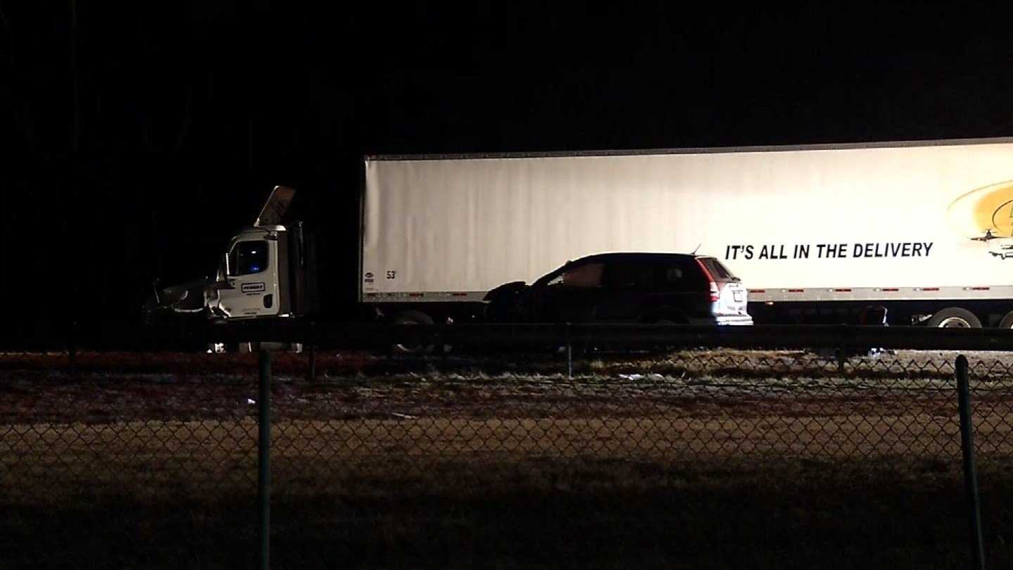 A crash between a wrong way driver and a tractor trailer closed I-691 east in Meriden on Monday morning. (WFSB)