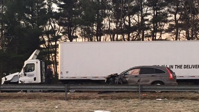 State police investigated a crash between a wrong-way driver and a tractor trailer on I-691 in Meriden. (WFSB)