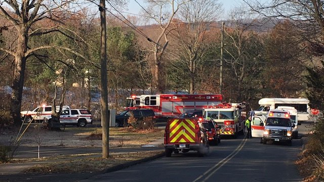 A chemical incident had hazmat crews responding to Dalton Enterprises in Cheshire on Monday. (WFSB)