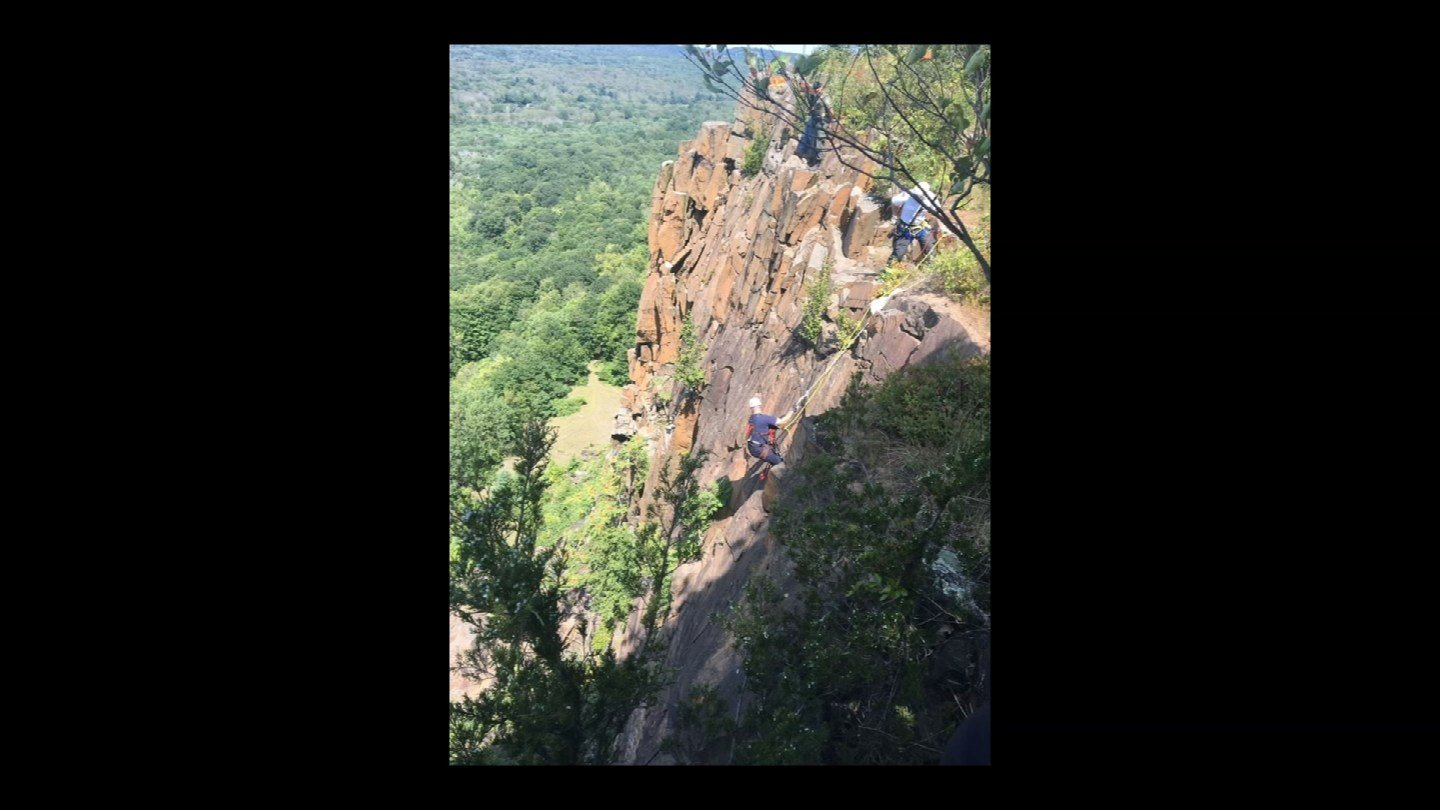 """Hamden firefighters work to rescue """"West"""" the dog from a cliff back in August. (Hamden Fire Dept.)"""