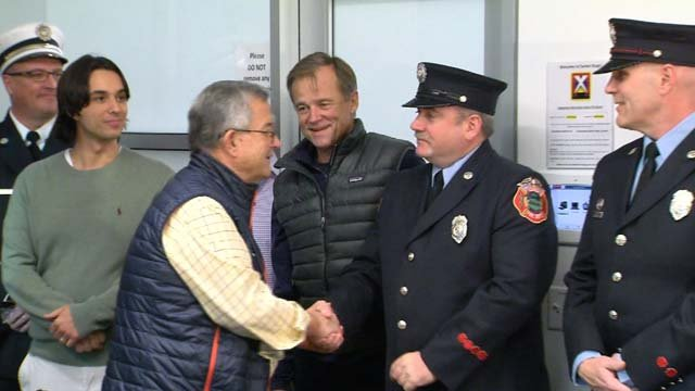 John Claydon got to meet some of the first responders who saved his life (WFSB)