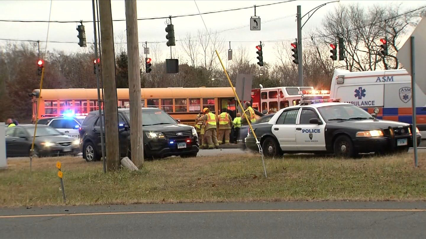 Students received minor injuries following a crash involving a school bus on Route 5 in South Windsor. (WFSB)