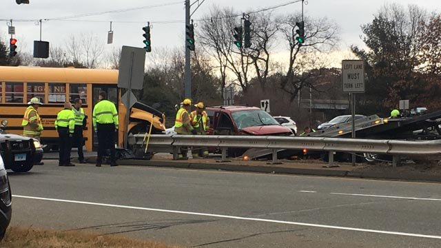 Fourteen students were aboard a school bus that was involved in a crash with a minivan in South Windsor on Tuesday morning. (WFSB)