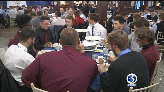 The eight best high school football teams in the state enjoy a banquet ahead of their championship games (WFSB)