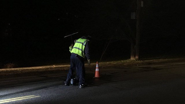 A water main break on Bee Street in Meriden forced road repairs that began on Wednesday. (WFSB)