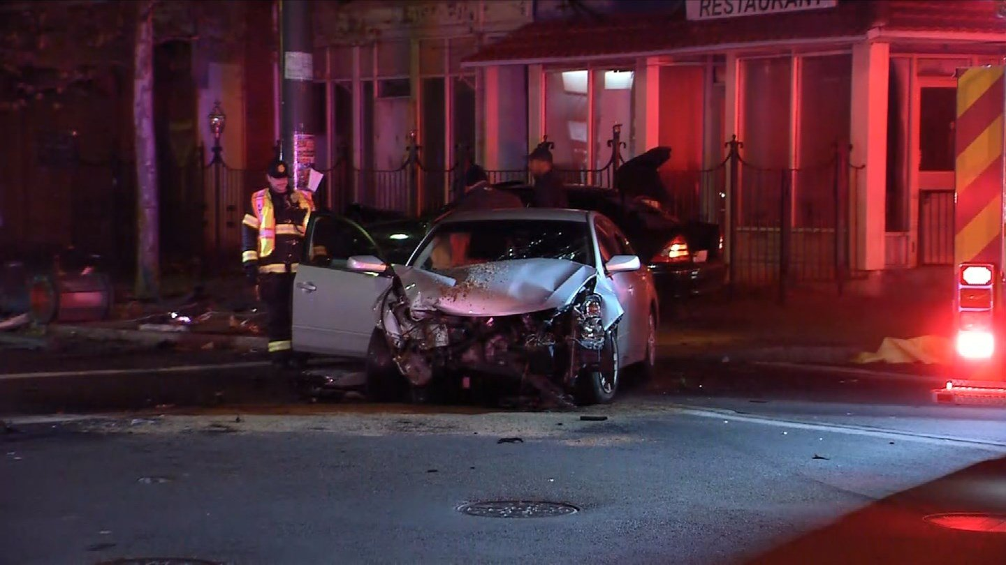 A two-car crash partially blocked the intersection of Broad and Park streets in Hartford on Thursday. (WFSB)