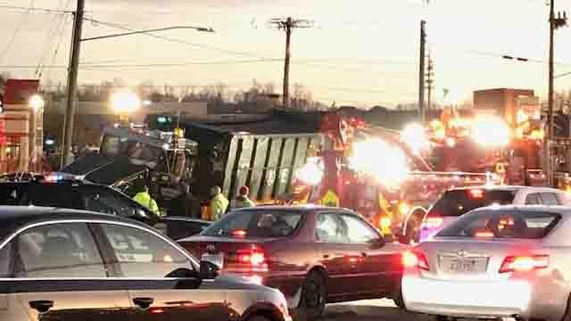 A crash involving a dump truck is causing delays in Newington. (WFSB)