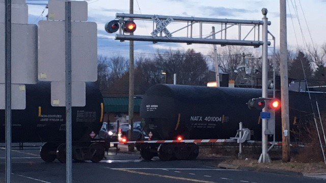 A train derailment closed Route 10 in Plainville on Friday. (WFSB)