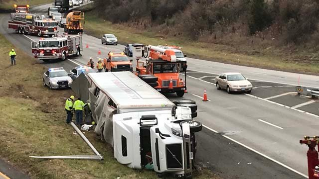 A tractor trailer rolled over on Route 9 northbound between exits 28 and 29. (WFSB)