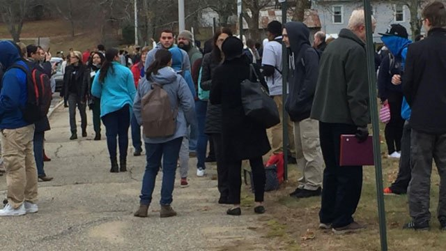 Students were waiting outside of Windham High School out side due to a bomb threat on Friday.