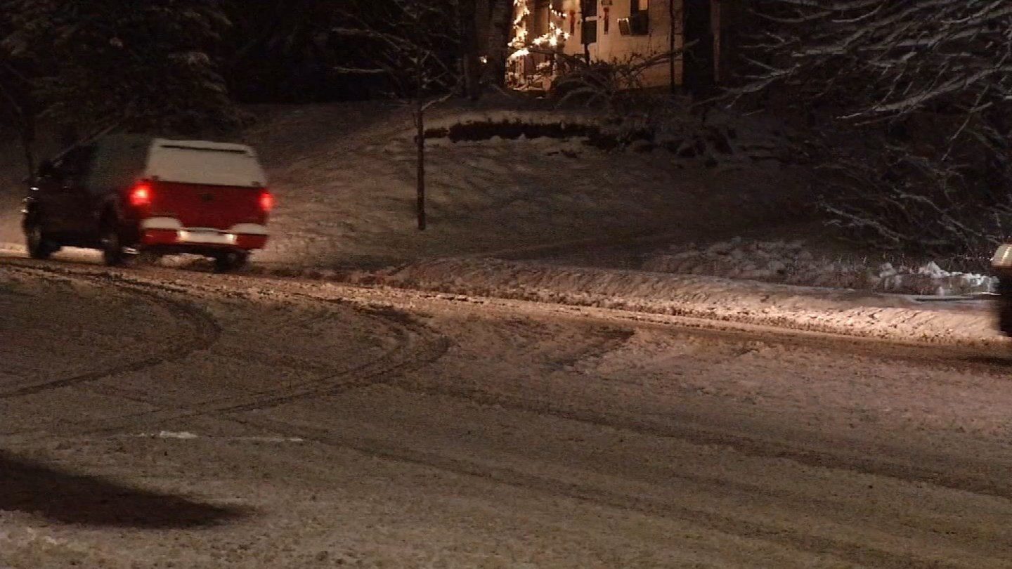 Snow caused slick conditions across the state on Saturday evening (WFSB)