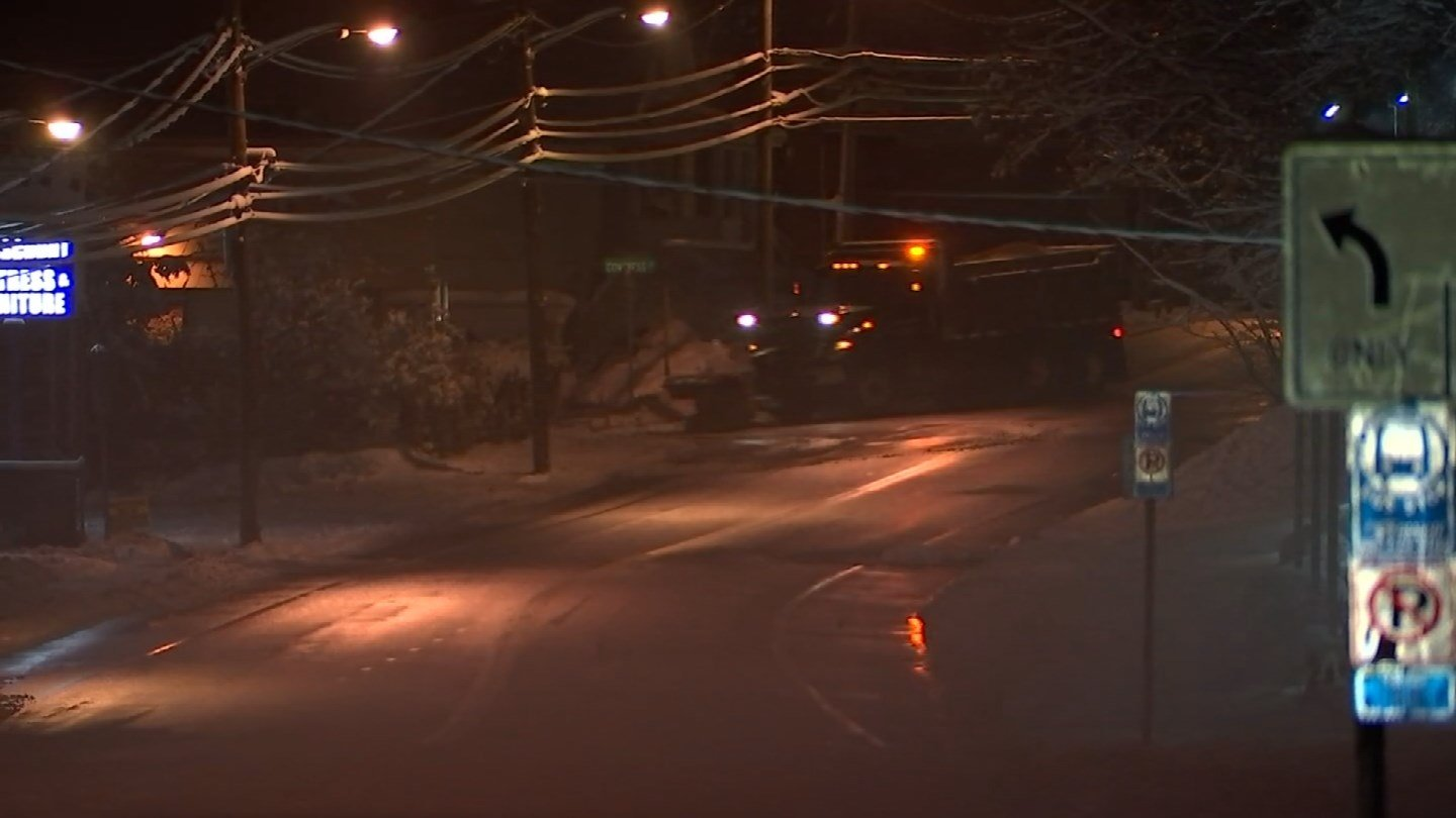 Roads in Manchester remained snow and slush-covered on Sunday morning. (WFSB)