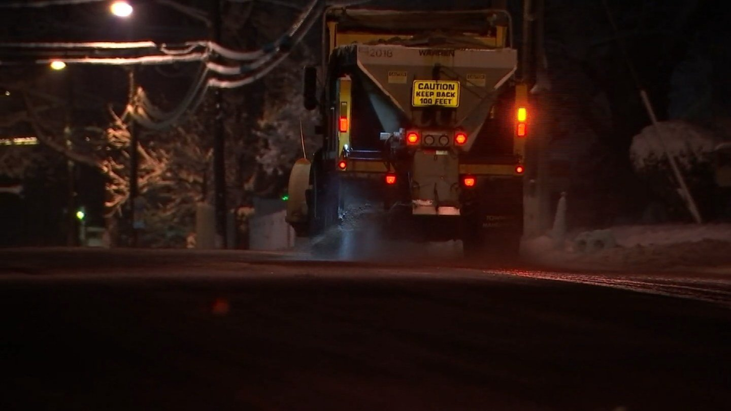 Plow crews continued to work into Sunday morning in Manchester. (WFSB)