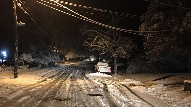 Snow-covered roads remained in New Britain on Sunday morning. (WFSB)