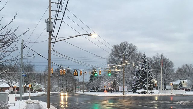 Roads in Newington appeared clear, but temperatures on Sunday morning warranted some freezing. (WFSB)