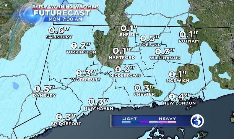 Meteorologist Mike Cameron is forecasting a bit of snow overnight into Monday which could result in a slippery morning commute. (WFSB)