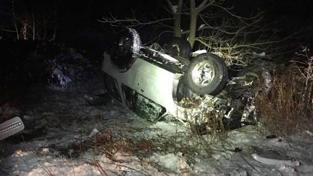 Glastonbury police warned drivers of black ice after a rollover in the area of Hebron Avenue and Ridge Road on Sunday night. (Glastonbury police)