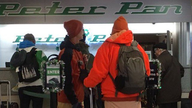 Peter Pan bus riders in Hartford learn that their buses to New York City were cancelled following an explosion. (WFSB)
